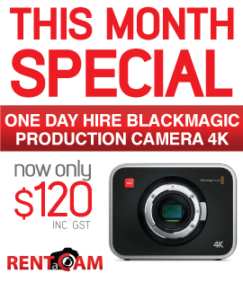 RENTaCAM Sydney August SPECIAL - Blackmagic Production camera 4K for rent only $120 a day
