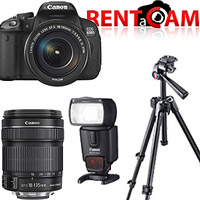 Hire Canon 700D kit (with 2 batteries, charger and 16GB SanDisk card!) with Canon EF-S 18-135mm f3.5-5.6 IS STM lens, Canon Speedlite 430EX II flash and Manfrotto 7301YB tripod from RENTaCAM