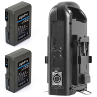 Pack of 2 V-lock batteries with V-lock battery charger hire RENTaCAM Sydney